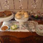 Breakfast baked goods and fruits