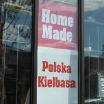Home Made Kielbasa sign in window