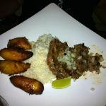 Cuban steak with plantains, rice, and black beans (in seperate bowl not pictured)