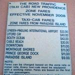 Taxi rates posted at hotel