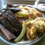Mike Anderson BBQ 3 tasty ribs 3 slices of brisk wikd sides