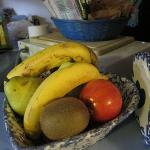 The fruit bowl and snack bowl. Replenished every morning.
