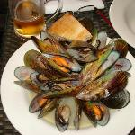 1KG MUSSELS Steamed with white wine and garlic and served with crusty bread