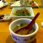 Miso Soup (top notch) Seaweed salad (delicious) and Alaska Roll (melts in your mouth :-) )