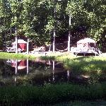  Yurt #6 on the left....#1 (??) on the right - across tiny pond