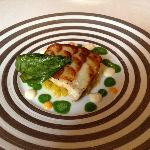 turbot with potato crust on fennel