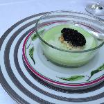 cold cucumber soup with lobster claws and caviar