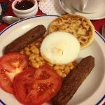 Wonderful breakfast with vegetarian sausages, poached egg and potato scone. YUM YUM