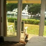  patio looking out from our room to grassy area and ships