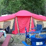 our campsite and tent