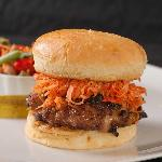 Spicy Asian Burger with Marinated Veggie Salad