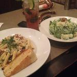  raspberry mojito and grilled chicken penne asiago