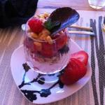 Breakfast starter-Mixed berry parfait with strawberry yogurt and pinon granola
