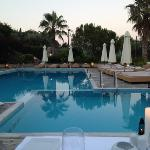 pool area at twilight