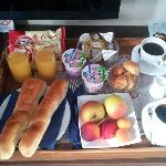 The breakfast tray, all quite nice. But there is no proper place to eat.