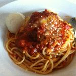 Spaghetti and Meatball with ricotta cheese!