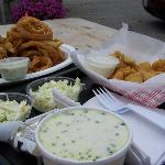 Whole belly clams with onion rings and cole slaw, fried pickles, and haddock chowder! YUM!