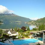 Hotel Alexandra, view of pool and Nordfjord