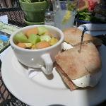  caprese sandwich with fruit salad