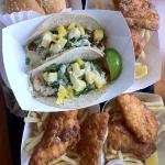  burger, fish and chips, and chicken tacos.