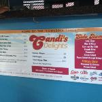  menu at Candi&#39;s