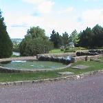 Fish pond with the lake behind