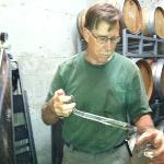 Tasting one of Bob's white wines in his cellar