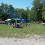 Tenting area with big fire pit