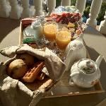  Breakfast served on the balcony off the room