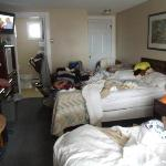 A view from the first bed, flat screen TV full closet and full bathtub!