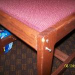  Broken chair with screws hanging out(I almost fell through this chair while trying to kill a spi