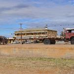 Tom Kruse's old mail truck in front of the Marree Hotel