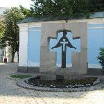 The Holodomor memorial outside the walls of the church