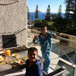  our sons enjoying breakfast on the balcony.