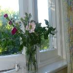 Fresh flowers on the windowsill