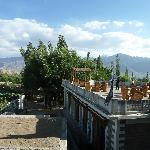  view from our room with terrace and mountains