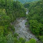 The view of the Coaticook River Gorge from the Suspension Bridge.