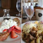  Strawberry Brioche French Toast and House Smoked, Smoked Salmon Benedict - out of this world!!