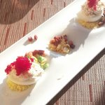  Deviled egg with caviar, bacon and corn (yummy)