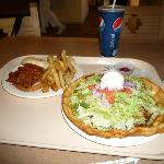 Navajo Taco and pulled pork sandwich with fries