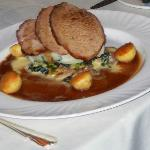  Roast Loin of Pork with Savoy Cabbage &amp; Bacon, Spring Onion Mash &amp; Roast Apples