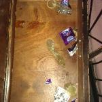  a drawer we found in our room on arrival, filled with used condoms. disgusting.