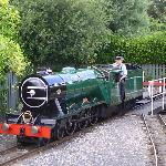  the &#39;friendly&#39; driver turns round his loco at Scalby Mills