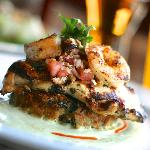 Grilled Chicken and Shrimp on Crabcake