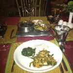  Saag, veggies and rice!  Delicious