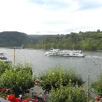 Balcony view - boats on the Rhine