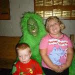 Grandson is not sure of the Grinch up close.