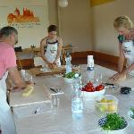  At the cooking school, learning to make picci pasta and preparing other recipes