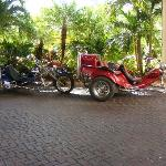 Hotel Entrance. Trike Tour bikes we did