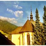 View of Kranjska Gora church from my hotel room